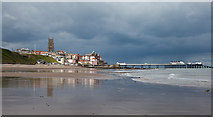 TG2142 : Cromer town and pier from the beach by Peter Facey