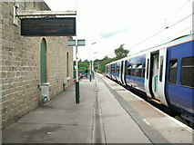 SK0394 : Glossop station platform by Raymond Knapman