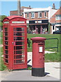 SZ2991 : Milford on Sea: postbox № SO41 149 and phone, High Street by Chris Downer