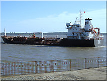 SJ3681 : The Lilac chemical tanker passing Eastham Ferry by John S Turner