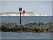 SZ1891 : Mudeford: groyne markers and Isle of Wight view by Chris Downer