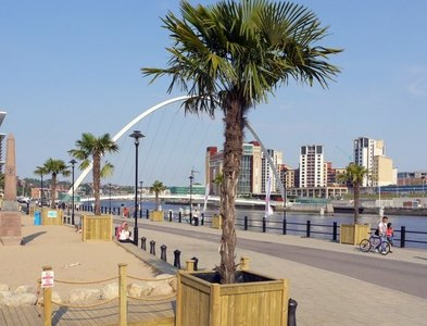 NZ2563 : Palm Beach on Newcastle Quayside by Andrew Curtis