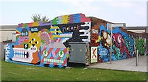 NZ2563 : Graffiti Wall near The Sage by Andrew Curtis