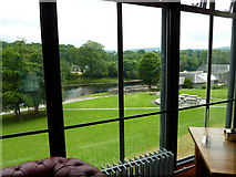 NN9357 : River Tummel from the foyer of the Pitlochry Festival Theatre by sylvia duckworth