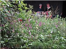 TQ2679 : Serpentine Gallery Pavilion 2011 - two ladies taking tea by David Hawgood
