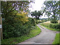 TM2653 : Footpath to Scott's Lane & entrance to High House Farm by Adrian Cable