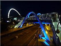 TQ1885 : Wembley: White Horse Bridge floodlit in blue by Chris Downer