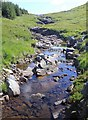 NN2417 : View east from bridge over Allt na Lairige by David P Howard
