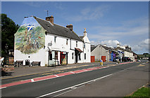 NS6113 : The Old Castle Hotel and Castle Mural, New Cumnock by Walter Baxter
