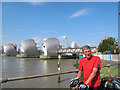 TQ4179 : Cycling round Britain's coast: Thames Barrier by Stephen Craven