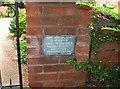SP0061 : Plaque on gatepost at St. John the Baptist Church, Feckenham by P L Chadwick