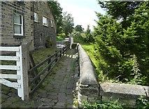 SE0026 : Hebden Royd Footpath 43 at Hawks Clough Farm, Mytholmroyd by Humphrey Bolton