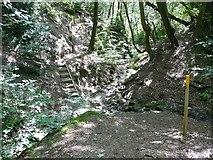 SE0026 : Hebden Royd Footpath 20 crossing Hillhouse Clough in Stephenson House Wood, Mytholmroyd by Humphrey Bolton