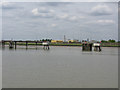 TQ6575 : Jetties and shoreline near Tilbury power station by Nick Smith