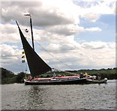 TG3715 : Wherry Albion approaching St Benets Abbey by Evelyn Simak