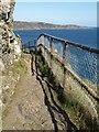 SX7236 : Fence on coast path, Sharp Tor by Derek Harper