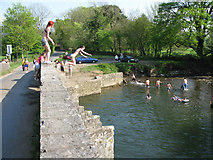 SS8978 : People jumping into the Ogmore River from New Inn Bridge by Nick Smith