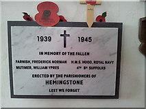 TM1453 : WW2 War Memorial, Hemingstone by Helen Steed