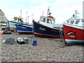 SY2389 : Fishing boats on the beach, Beer by Chris Allen
