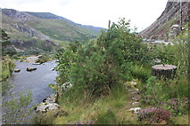 SH6460 : WW2 spigot mortar base at the top of Rhaeadr Olwen (waterfall) by Roger Davies