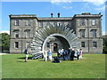 SJ9682 : West lawn and Aeolus wind sculpture, Lyme Hall by Colin Pyle