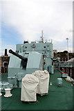 TQ7569 : Guns, HMS Cavalier, Chatham Historic Dockyard, Kent by Christine Matthews