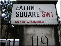 TQ2879 : Street sign, Eaton Square SW1 by Robin Sones