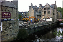 SD9927 : Demolition of buildings at the rear of Hebden Bridge Town Hall by Phil Champion