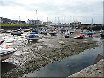 SN4562 : Part of Aberaeron Harbour at low tide by Jeremy Bolwell