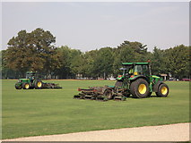 TQ7668 : Lawn mower tractors in Great Lines Heritage Park by David Anstiss