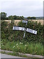 TM2059 : Roadsign on Cretingham Road by Adrian Cable