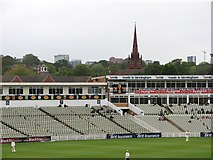 SP0684 : Edgbaston Cricket Ground: seats and spire by John Sutton