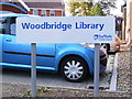 TM2749 : Woodbridge Library sign by Adrian Cable