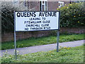 TM2648 : Queens Avenue sign by Adrian Cable