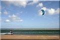 NU1536 : A kite surfer in Budle Bay by Walter Baxter