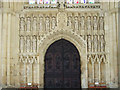 TA0339 : Stone carvings and Great West Door, Beverley Minster by J.Hannan-Briggs