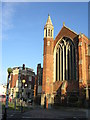 TQ3268 : Thornton Heath crossroads: St Alban's church and the Prince George by Christopher Hilton