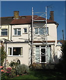 TQ2081 : Installation of solar PV in North Acton - access tower by David Hawgood