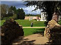 NZ3429 : Tuscan Alcove, Hardwick Hall Hotel from the Rubble Bridge by Andrew Curtis