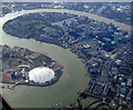 TQ3980 : The Millennium Dome and Isle of Dogs from the air by Thomas Nugent