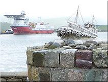 HU4039 : Scalloway: Shetland Bus memorial detail by Chris Downer