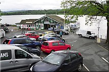 NY3703 : Pier building and car park, Waterhead by Rose and Trev Clough