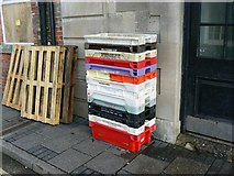 SY6778 : Pallets and fish-boxes, Maiden Street, Weymouth by Brian Robert Marshall