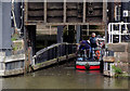 SJ6475 : Narrowboat in the Anderton Boat Lift, Cheshire by Roger  Kidd