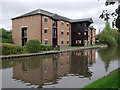 SJ5680 : Canal and apartments at Preston Brook, Cheshire by Roger  Kidd