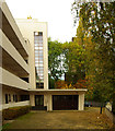 TQ2785 : Isokon Flats, Lawn Road: entrance and garage by Julian Osley