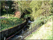 SS9992 : Nant Clydach emerges from a culvert, central Tonypandy by Jaggery