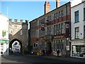 ST5393 : Chepstow Town Gate and the George public house and hotel. by Robin Drayton