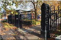 SK5802 : Leicester Cattle Market Gates by Ashley Dace