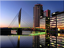 SJ8097 : MediaCityUK; BBC Offices and Pedestrian Swing Bridge by David Dixon